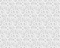 Sömlös arabisk geometrisk modell, 3D vit modell, indisk prydnad, persiskt motiv, vektor stock illustrationer