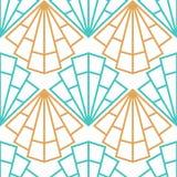 Sömlös Art Deco för abstrakt vektor modell med det stiliserade skalet Royaltyfri Fotografi