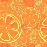 Sömlös bakgrund - apelsinen och citronen - Illustrat Royaltyfri Fotografi
