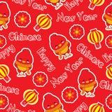 Sömlös bakgrund av den kinesiska illustrationen för nytt år med den gulliga tuppen och lampionlampa på röd bakgrund Arkivfoton