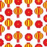 Sömlös bakgrund av den kinesiska illustrationen för nytt år med den röda blomman och lampionlampan Vektor Illustrationer