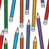 Sömlös bakgrund av färgrika blyertspennor Royaltyfria Bilder