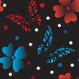 Sömlös bakgrund av färgrika fjärilar på svart bakgrund vektor illustrationer