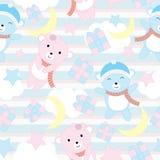 Sömlös bakgrund av födelsedagillustrationen med gulligt behandla som ett barn björnar på bakgrund för det blåa bandet som är pass Stock Illustrationer