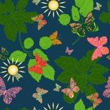 Sömlös bakgrund av fjärilar i en skog stock illustrationer