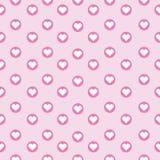 Sömlös bakgrund av illustrationen för dag för valentin` s med gullig hjärta i cirkeln på rosa färger Vektor Illustrationer
