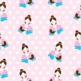 Sömlös bakgrund av illustrationen för dagen för moder` s med den gulliga mamman och behandla som ett barn på rosa bakgrund Vektor Illustrationer