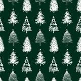 Sömlös bakgrund av julgranar stock illustrationer