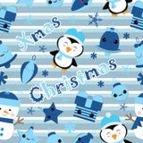Sömlös bakgrund av julillustrationen med den gulliga pingvinet, klockan, gåvan och stjärnan på bandbakgrund som är passande för b Stock Illustrationer