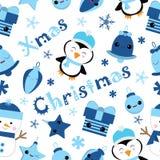 Sömlös bakgrund av julillustrationen med den gulliga pingvinet, klockan, gåvan och stjärnan som är passande för barnXmas-tapeten, Royaltyfri Illustrationer
