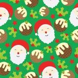 Sömlös bakgrund av julillustrationen med den gulliga Santa Claus, Xmas-kakan och bär på grön bakgrund som är passande för Xmas K Arkivfoton