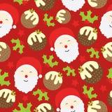 Sömlös bakgrund av julillustrationen med den gulliga Santa Claus, Xmas-kakan och bär på röd bakgrund som är passande för Xmas K Stock Illustrationer