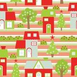 Sömlös bakgrund av julillustrationen med det färgrika huset och Xmas-trädet som är passande för restpapper och tapet Stock Illustrationer