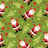 Sömlös bakgrund av julillustrationen med det gulliga Santa Claus och Xmas-trädet på grön bakgrund som är passande för tapet, Vektor Illustrationer