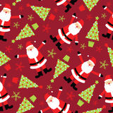 Sömlös bakgrund av julillustrationen med det gulliga Santa Claus och Xmas-trädet på röd bakgrund som är passande för tapet Arkivbild