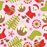 Sömlös bakgrund av julillustrationen med gulliga Santa Claus, fågeln och Xmas-prydnader på rosa bakgrund som är passande för Xmas Arkivfoto