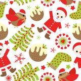 Sömlös bakgrund av julillustrationen med gulliga Santa Claus, fågeln och Xmas-prydnader som är passande för Xmas-restpapper, wall Royaltyfri Fotografi