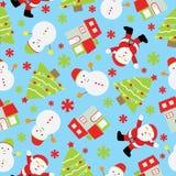 Sömlös bakgrund av julillustrationen med gulliga Santa Claus, snögubben och Xmas-trädet på blå bakgrund som är passande för Xma Stock Illustrationer