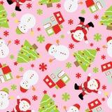 Sömlös bakgrund av julillustrationen med gulliga Santa Claus, snögubben och Xmas-trädet på rosa bakgrund som är passande för Xma Arkivfoto