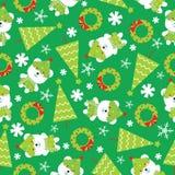 Sömlös bakgrund av julillustrationen med gulligt behandla som ett barn björnar, Xmas-trädet och snöflingor på grön bakgrund Stock Illustrationer