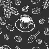 Sömlös bakgrund av kaffe vektor illustrationer