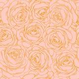 Sömlös bakgrund av rosa rosor med en guld- outl Arkivbilder
