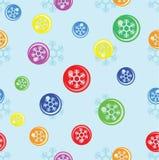 Sömlös bakgrund av snöflingan på färgrik boll Arkivfoton