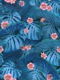 Sömlös bakgrund av tropiska sidor i blått Arkivbild