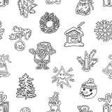 Sömlös bakgrund av utdragna julsymboler stock illustrationer