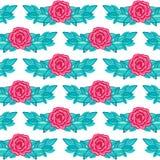 Sömlös bakgrund för älskvärd tappning med rosa rosor Fotografering för Bildbyråer