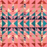 Sömlös bakgrund för abstrakt begrepp för hösttriangelmodell med geometrisk moderiktig texturmemphis pastell stock illustrationer