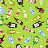 Sömlös bakgrund för alkohol med vin- och coctailflask- och exponeringsglasvektorillustrationen Dryckrestaurangdrink vektor illustrationer