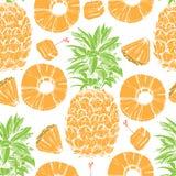 Sömlös bakgrund för ananas vektor illustrationer