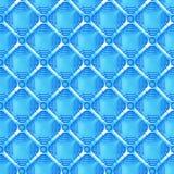 Sömlös bakgrund för blått 3d med ett raster av fyrkanter över oktogon formar Arkivbild