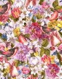 Sömlös bakgrund för blom- tappning med fågeln Royaltyfri Fotografi