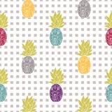 Sömlös bakgrund för enkel modern färgrik ananasrepetitionmodell med fyrkanter och damast smyckning vektor illustrationer