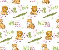 S?ml?s bakgrund f?r gullig vilda djur stock illustrationer