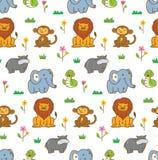 Sömlös bakgrund för gulliga djur med lejonet, apan, ormen, etc. vektor illustrationer