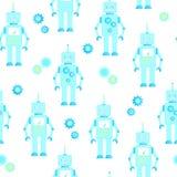 Sömlös bakgrund för gulliga robotar stock illustrationer