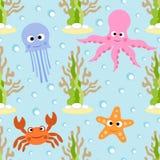 Sömlös bakgrund för havsdjur Arkivbilder