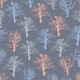 Sömlös bakgrund för illustrationskogträd stock illustrationer