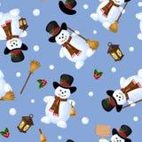 Sömlös bakgrund för jul med snögubbear också vektor för coreldrawillustration Arkivfoto