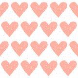 Sömlös bakgrund för klotterhjärta Abstrakt barnslig rosa hjärta Royaltyfri Fotografi