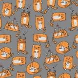 Sömlös bakgrund för orange gulliga katter vektor Arkivfoton