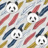 Sömlös bakgrund för panda med färgrika fjädrar ljus vektorv?rld f?r konst royaltyfri bild