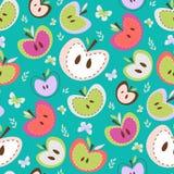Sömlös bakgrund för Retro äpplen royaltyfri illustrationer