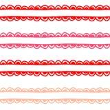 Sömlös bakgrund för rosa och röd vektor utdragen design för hand för valentin dag royaltyfri illustrationer