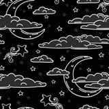 Sömlös bakgrund för söta drömmar med klottermånar och moln Royaltyfri Bild