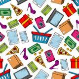 Sömlös bakgrund för shopping och för fritid stock illustrationer