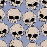 Sömlös bakgrund för skalle Modell för många skallar Arkivfoto
